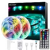 Ksipze LED Strips 2x5m(insgesamt 10 m) RGB Lichtschlauch-Streifensatz mit Fernbedienung Ideal für Raum, Haus, Küche, Party, Farbwechsel LED-Streifen SMD5050 mit Klebstoff und Clips 12V Netztei