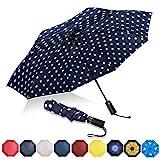 Eono by Amazon - Regenschirm Taschenschirm Kompakter Falt-Regenschirm, Winddichter, Auf-Zu-Automatik, Teflonbeschichtung, Verstärktes Dach, Ergonomischer Griff, Schirm-Tasche, Blauer/Weißer Punkt