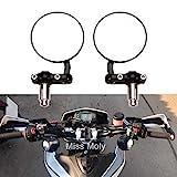 Motorrad Runden Lenkerendenspiegel Motorrad Rückspiegel für 7/8'Lenker Passend für Chopper Cruiser (Schwarz)