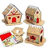 HOWAF Packung mit 3 Lebkuchenhaus Set - Kreative DIY Weihnachts bastelset und Dekoration für Kinder, Lebkuchenhaus zum selbermachen mit Weihnachtsaufkleber