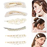 6 Stücke Künstliche Perlen Haarspangen für Frauen Mädchen, Mode Eleganz Haar Snap Clips Perle Haarnadeln Haarklammern Haarspangen Für Hochzeit und Geschenke