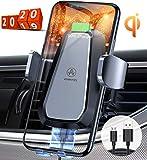 VANMASS Qi Ladestation Auto Wireless Charger Auto Lüftung Upgrade Motor Betrieb Automatische Handyhalterung Auto mit Built-In Akku 10W Kabellos Ladegerät für Qi-Handy iPhone 11/XR/8P Galaxy S10/S9/S8