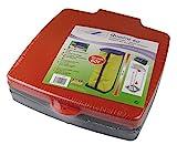 SCHULZ Müllsackständer mit Deckel - Für Müllsäcke bis 60 Liter - 3-Fach höhenverstellbar - Müllsackhalter - Abfallbehälter - Abfallsammler für Haushalt oder Camping (Rot)
