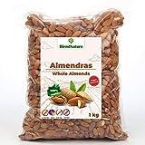 Geschälte Ganze Mandeln 1 kg - Ohne Salz mit Haut - 100% Natürlich und Ganz - Mediterraner Herkunft - Premiumqualität - GVO-frei - Vegan.