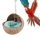 Vogelnest aus natürlichem Kokosnuss Muschel für Papageien Sittiche Nymphensittiche Wellensittiche, Kanarienvögel Finken Hamster Ratte Mäuse Chinchillakäfig Spielzeug Nistkasten