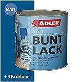 ADLER 5in1 Buntlack für Innen und Außen - Matt - 375ml- Wetterfester Lack und Grundierung für Holz, Metall & Kunststoff, RAL5010 Enzianblau