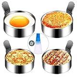 Hanamichi Egg Ring, 4 Stück Edelstahl Omelettform Kochen Antihaft-Spiegelei Form Griff Pfannkuchen Ring Metall Küche Kochwerkzeug für/Pfannkuchen/Omeletts und Mehr(Ölflaschenbürste Enthält)