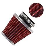 Evermotor Universal Doppelschicht Stahl Filter Luftfilter Rot 48mm 49mm 50mm für Motorrad Scooter ATV Moped Roller