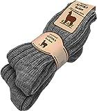 normani 2 Paar Alpaka Wintersocken aus Reiner Naturfaser 100% Alpaka- und Schafwolle Farbe Anthrazit Größe 43/46