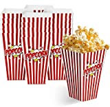 matana 50 Popcornboxen, 18x10cm- Stabil Popcorntüten - Retro, Rot-Weiß Gestreift Partytüten für Leckereien und Süßigkeiten - Perfekt für Geburtstagsfeiern, Filmabend, Karneval, Hochzeiten.