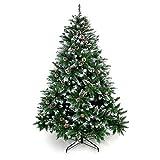 Yorbay Weihnachtsbaum Tannenbaum mit Ständer 120cm-240cm für Weihnachten-Dekoration Mehrweg (Weihnachtsbaum mit Schnee, 180cm)