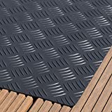 Paderbest24 Bodenschutzmatte Grillunterlage Grillschutzmatte (2 Farben zur Auswahl) mit Riffelblechoptik 100x75cm (SCHWARZ)