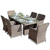 Green Spirit Hochwertige Tischgruppe 13-TLG. in Braun Polyrattan Garten Möbel Poly Rattan Speisegruppe Tischgruppe Hellbraun Gartenmöbel XL-Stühle Sicherheitsglas