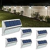JSOT Solarlampen für Außen, 30 LED Solarleuchten für Außen Solarleuchte Garten Wegeleuchte Wandleuchte Dachrinnen Solarleuchten Gartenleuchten für Wand Zaun Treppen - Weißes Licht, 6 Stück