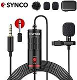 Synco Lavalier Mikrofon, Omnidirectional Kondensator Mic mit Windschutz, USB Ansteckmikrofon 3.5mm TRS/TRRS 6.5mm für Smartphone iPhone Android Huawei Samsung, PC Laptop, Kamera DSLR Camcorder