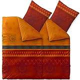 CelinaTex Fashion Bettwäsche 135x200 cm 4teilig Baumwolle Legra Blumen Rot Orange Grau