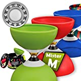 Mister M ✓ Das Ultimative Kugellager Diabolo Set ✓ Kugellager Diabolo ✓ Alu Stöcke ✓ Online Lern-Video ✓ Geschenkbox (Grün)