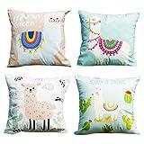DreamJing 4 x Alpaka Kissenbezüge,Kawaii Cartoon Lama Print Kissen Fall,Alpaka Sofa Dekorative Kissenbezug für Home Auto Kinderzimmer Büro Café