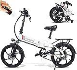 Elektrofahrrad Ebike Klapprad Mountainbike 20 Zoll mit 48V 10,4Ah Lithium-Akku, 350 W Motor 25 km/h, 7-Gang-Diebstahlalarm,Smartphone-Halter Elektrische E-Bike MTB für Outdoor Herren Damen
