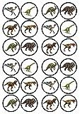 Cupcake-Aufsätze, essbare Oblaten, besonders dick, gesüßt, Vanillegeschmack, Dinosaurier-Motive, 24 Stück