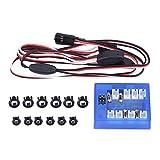 Dilwe 12-LED Auto Licht, Montieren Beleuchtung System Kit Simulation Blinklichter für 1/10 RC Auto/LKW/Crawler
