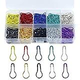 Chstarina 300 Stück Birne Pins Sicherheitsnadeln, 10 Mischfarben Calabash Pin Kürbis Pins aus Metall Strickzubehör Nähen Handwerk Kleidung Stricken