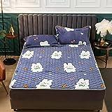 Nuoxuan Anschmiegsam strapazierstark Spannbetttuch,Flanell Scheckblatt,rutschfeste Schutzhülle für das Schlafzimmer im Apartment Blau 3 90 * 200 cm