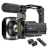4K Camcorder Videokamera WIFI 48MP IR Nachtsicht Vlogging Kamera 16X Digital Zoom Video Camcorder mit Mikrofon, Kamerahalter und Gegenlichtblende
