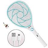 ZOMAKE Elektrische Fliegenklatsche Fliegenfänger Moskito Zapper, Insekten Mörder - USB Wiederaufladbar - 3000 Volt - Doppelte Schichten Mesh Schutz (Blau)