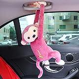 TZX AFFE Aufhängeplatte, Automobil ursprüngliche Gewebe-Boxen, Multifunktions-Cartoon, exzidierte Gewebeaufbewahrungsbeutel, Toilettenpapierhalter (Gelb/pink),Rosa