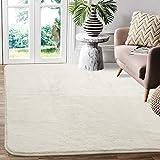 Frabe Teppiche Wohnzimmer,120x160cm Hochflor Teppiche für Schlafzimmer Kinderzimmer Esszimmer, Teppiche Läufer Bodenmatte rutschfeste Unterseite(Elfenbein)