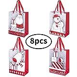 Koopan [8 Stück] Geschenktüten Papiertüten Geschenkbeutel Set Mitgebsel Tüten Geschenktütenset für Partys, Hochzeiten, Feiern, Weihnachten