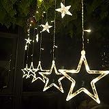 Salcar - LED Lichterkette mit LED Kugel 12 Sterne 138 Leuchtioden Lichtervorhang Sternenvorhang 8 Modi Innen & Außenlichterkette dekoration für Weihnachten Deko Party Festen - Warmweiß