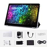 Android Tablet Komplett mit 10,0 Zoll HD IPS-Bildschirm, Android 9.0 3G-Pad mit 2 SIM-Kartensteckplätzen, Quad-Core, 1,3 GHz, 4 GB + 64 GB, Bluetooth, WLAN, GPS, Dual-Kamera, Schwarz