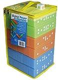 alldoro 60065 - 2 in 1 Tower & Domino Spiel Set, XXL Wackelturm + Dominosteine als Legespiel im Riesen Format, 30 Kunststoff Bausteine mit Tragetasche, Stapelspiel für Indoor, für Kinder ab 2 Jahre