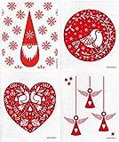 Jangneus Schwedisches Geschirrtuch, 4 Stück, verschiedene Feiertags-Designs (4 Stück, alle Rot: Tomte Elf / Rebhuhn / Engel / Rotkehlchen)