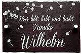 Haus-Türschild Schiefer personalisiert mit Wunschnamen | Hausschilder mit Namen aus Schiefer | Familien Hausschild 20 x 30 cm | Türschild mit Name | Türschilder mit Gravur | Haus-Türschilder mit Namen