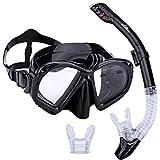Supertrip Premium Schnorchelset Erwachsene Taucherbrille mit Schnorchel Tauchset Tauchmaske mit Kamera Halterung Tauchen Dry Schnorcheln Sett Colour Schwarz …