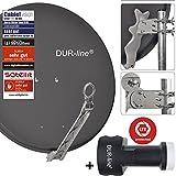 DUR-line 8 Teilnehmer Set - Qualitäts-Alu-Satelliten-Komplettanlage - Select 75/80cm Spiegel/Schüssel Anthrazit + Octo LNB - für 8 Receiver/TV [Neuste Technik, DVB-S2, 4K, 3D]