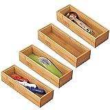 mDesign 4er-Set Schubladeneinsatz für die Küche – modularer Besteckkasten für Silberbesteck und mehr – Organizer aus Bambus für die Schublade – hellbraun
