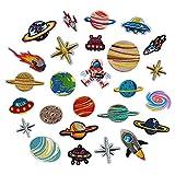Soleebee Gemischt zufällig Patches Zubehör Aufbuegler Bügeleisen-auf oder Nähen-auf Aufnäher Applikation Applique Flicken Patches (26 Stück Universum Planet)