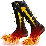 MOVTOTOP Beheizbare Socken, Beheizte Socken für Männer/Frauen Wiederaufladbare Waschbare 2020 Neueste Batterie wärmesocken 3 Wärmeeinstellungen fußwärmer Upgrade des Heizelements auf bis zu 140 ℉