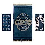 jilda-tex Strandtuch 90x180 cm Badetuch Strandlaken Handtuch 100% Baumwolle Velours Frottier Pflegeleicht Verschiedene Designs (Beach)
