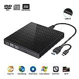 Externes CD DVD Laufwerk,USB 3.0 Typ C DVD CD RW Lesegerät mit SD-TF-Kartenleser und USB-Stick-Anschluss, tragbarer DVD-CD-RW-ROM Brenner Player für MacBook, Laptop, Win 7/8/10 / XP (schwarz)