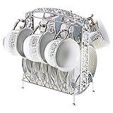 Porzellan Mokkatassen Set 13 teiliges Tassen Set Inklusive Untertassen und Metallständer in Silber - Bavary Kahve Fincan