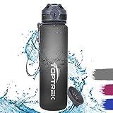 toptrek Trinkflasche 1L BPA-Frei Wasserflasche aus Tritan EIN-klick-Öffnung/Versiegelt Auslaufsicher, Sportflasche für Sport, Fitness, Camping, Uni, Fahrrad, Outdoor (Grau)