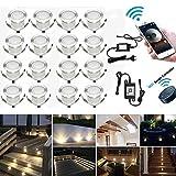 20er WIFI Dimmbar LED Bodeneinbauleuchten Einbaustrahler Arbeitet mit Alexa,IFTTT,WiFi Wireless Smart Phone, Ø30mm 0.6W IP67 Wasserdicht LED Einbaustrahler Außen Full Kit
