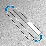 Duschrinne 80cm Edelstahl Ablaufrinne Siphon mit Geruchsstop Bodenablauf Duschablauf Bodenbefestigung Maße von 50 bis 100cm wählar