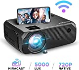 BOMAKER WiFi Beamer 5000 Lumen Wireless Projektor Unterstützt 1080P Full HD Native 720p Max. 250'' Display Mini LED Beamer kompatibel mit iPhone/Android Smart Phone/iPad/Mac/Laptop/PC
