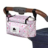 Kinderwagen Organizer,Kinderwagentasche Buggy Bag Universal Aufbewahrungstasche Stroller Organizer Baby Wickeltasche Kinderwagen-Zubehör -Pinke Blumen